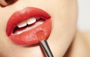 Lips with lipstick